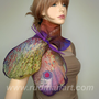 Wool Silk Felted Art hand dyed scarf butterflybrooch by Rudman