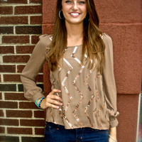 Vertical Zig Zag Blouse in Mocha | The Rage