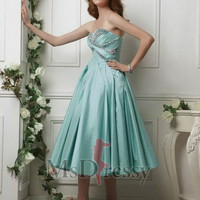 Princess Strapless Tea-length Taffeta Sweet 16 Dress with Beading and Ruched at Msdressy