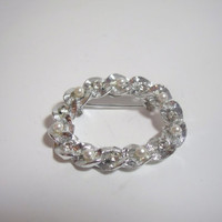 Vintage Brooch Pin Silver pearl bead and rhinestone oval costume jewelry classic style