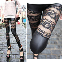 Womens Stretch Black Spandex Skinny Faux Leather Lace Tights Club Leggings Pants