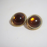 Vintage Clip On Earrings Amber Gold oval dome shape costume jewelry Great Autumn Fall Style