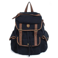 New Woman&#x27;s/Men&#x27;s Black Canvas Backpacks Bookbags Strap Closures Satchels HB83