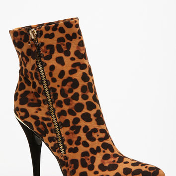 Anne Mitchell Leopard Print Pointed Toe Ankle Boots
