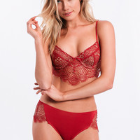 Bat Your Lashes Cheeky Panty In Red By SKIVVIES By For Love & Lemons