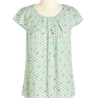 ModCloth Mid-length Cap Sleeves Steal the Show Top in Spring Garden