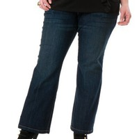 Motherhood Maternity: Plus Size Petite Secret Fit Belly(tm) Super Stretch Boot Cut Maternity Jeans...