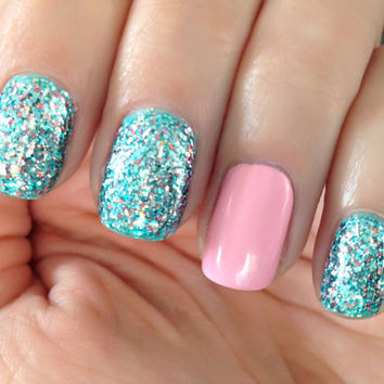 Little Mermaid - Blue,Teal, Silver, Pink Glitter Nail Polish
