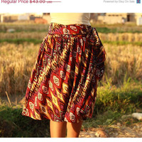 ON SALE Autumn Red Abstract Midi Skirt and Colorful Tribal of Brown, Purple, Black and White - Ready to Ship