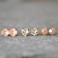 Peach Pink Ballet Pink Blush Earrings Bridal Earrings Neutral Bridesmaids Set of Three Swarovski Crystal 8mm Stud Earrings Mashugana