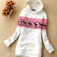 Casual Lovely Womens Hooded Hoodies Pullover Sweats Outerwears Long Sleeves 4786
