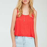Embroidered Mesh-Back Tank