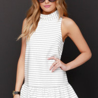 The Fifth Label River City Black and Ivory Striped Dress