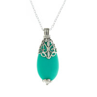 Sterling Silver Indian Charm Turq Pendant   Blue   Accessorize