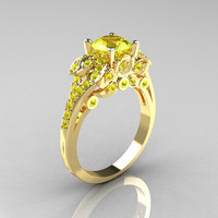 Classic 14K Yellow Gold 1.0 CT Yellow Topaz Solitaire Wedding Ring R203-14KYGYT