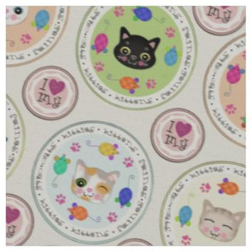Cute Kitty Cat Lover's Pattern Fabric