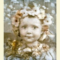 Flower Fairy Baby Darling Tinted Vintage photo card by maclancy