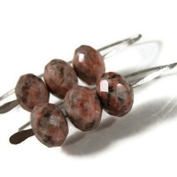 Handmade earrings, jasper gemstone, handforged sterling silver