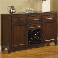 Server Sideboard with Wine Rack in Medium Brown Finish $608.66