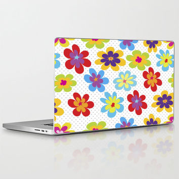 "Valentine's Day Gift HIGH QUALITY Laptop Skin for MacBook Air/ Pro/ Retina and PC Laptops 13"" 15"" 17"" - Happy Colorful Floral Laptop Decal"