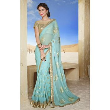 Pehenomenal Foil Art Saree with designer Blouse - TheEthnicWear