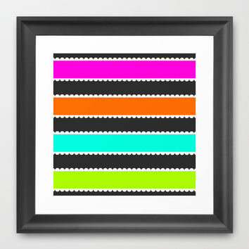 Neon Stripes Framed Art Print by KJ53321