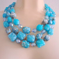 60s West Germany Aqua Blue Lucite Bead Bib Necklace / Textured / Variegated / Jewelry / Jewellery
