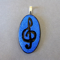 Musical Clef Pendant, Etched Treble Clef in Blue Dichroic - Treble - 1868