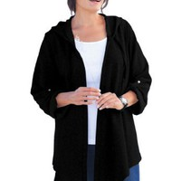 Jacket in knit with hood and high-low hem $29.99