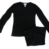 Oscar de la Renta Knit & Velour Pajama Set Black Small $15.95