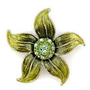 Flower MultiColor Crystal White Metal Antique Copper Brooches $9.99