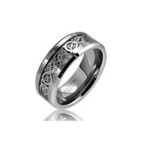 Bling Jewelry Celtic Dragon Comfort Fit Black Inlay Tungsten Carbide Mens Wedding Ring $18.90