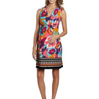 Maternal America Women`s Maternity Boarder Print Mini Front Tie Dress $128.00