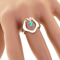 Isis Blue Topaz Ring Engagement Egyptian Sterling Silver December birthstone Custom unique jewelry