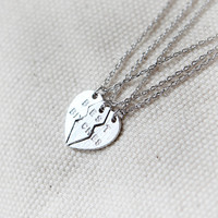 Split Heart Best Bitches Necklaces, Set of 3 necklaces / choose your color, gold and silver