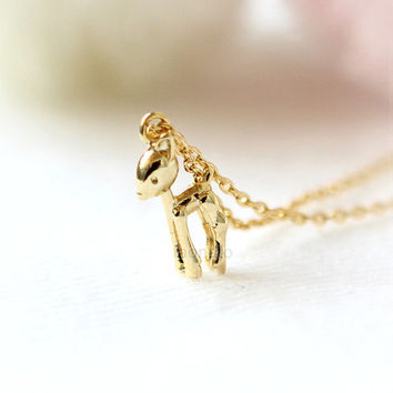 Little Fawn Necklace / choose your color, gold and silver, baby deer