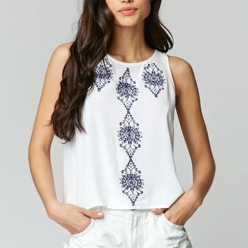 LA Hearts Embroidered Open Back Tank - Womens Shirts - White
