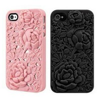 Silicone Rose Embossing Case for iPhone 4/4S  by Julyjoy