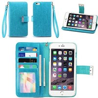 IZENGATE Apple iPhone 6 Plus (5.5 Inch) Wallet Case - Executive Premium PU Leather Flip Cover Folio with Stand (Turquoise Blue)