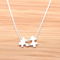 tiny HEART PUZZLE necklace,(2 colors) | girlsluv.it - handmade jewelry collection, ETSY, Artfire, Zibbet, Earrings, Necklace