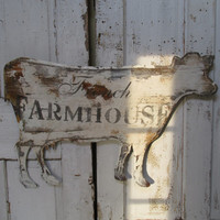 Large rusty cow sign wall decor French farmhouse hanging metal cut out shabby distressed home decoration anita spero design