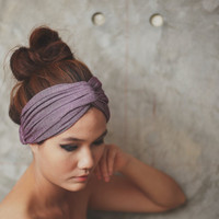 Amethyst Shine, Extra wide Turban Twist Headband - Glister Metallic Purple