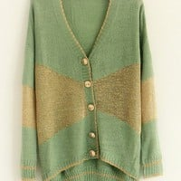 V-Neck  Green long sleeve irregular shrug sweater  Patchwork  Pop  style zz92701202 in