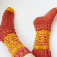 Hand knit socks, orange, yellow,  wool socks