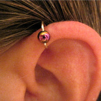 "No Piercing Handmade Ear Cuff Helix Cuff ""Rainbow Captive Ball"" 1 Cuff Silver Tone or 17 Color Choices"