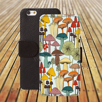 mushroom colorful iphone 5/ 5s iphone 4/ 4s iPhone 6 6 Plus iphone 5C Wallet Case , iPhone 5 Case, Cover, Cases colorful pattern L031