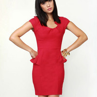 Chic Red Dress - Body-Con Dress - Sheath Dress - Peplum Dress