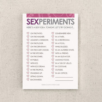 """Naughty First Paper Anniversary Gift. Sticky Notes. Valentine's. Funny. For Man, Woman, Him, Her, Husband, Wife. """"Sexperiments"""" (NSN-L003)"""