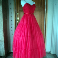 "Vintage 60s Chiffon Prom Dress Sweetheart Gathered Bodice Full Tiers Formal XS 32""B"