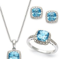 Sterling Silver Jewelry Set, Blue Topaz (5-7/8 ct. t.w.) and Diamond Accent Necklace, Earrings and Ring Set   macys.com